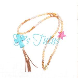Jewelry - Turquoise Cross Tassel Crystal Beaded Necklace
